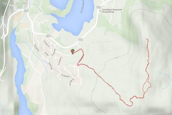 Kart som viser veien til toppen.