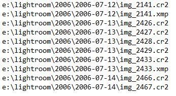"""Eksempel på liste som ble generert av kommando """"dir /b/s/l/o:gnd"""""""
