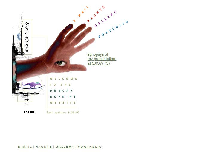 Duncan Hopkins webdesign slik det så ut i 1997.