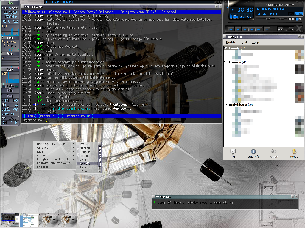 Linux and Enlightenment with XMMS, gkrellm and a few other applications running